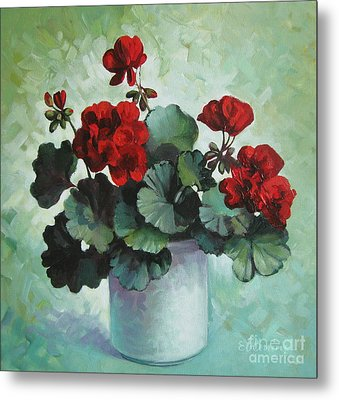 Metal Print featuring the painting Red Geranium by Elena Oleniuc
