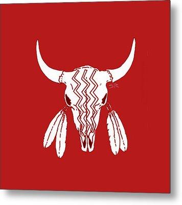 Red Ghost Dance Buffalo Metal Print by Steamy Raimon