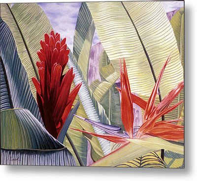 Red Ginger And Bird Of Paradise Metal Print