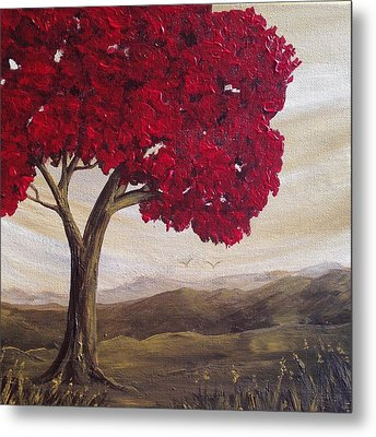 Red Glory Metal Print by T Fry-Green