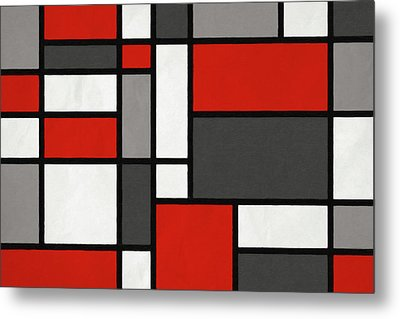 Red Grey Black Mondrian Inspired Metal Print