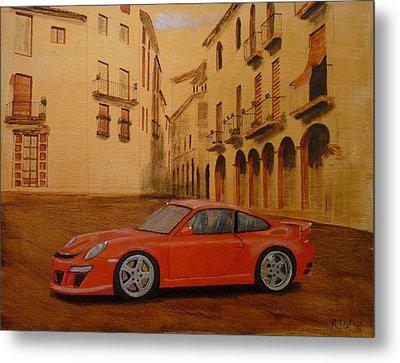 Red Gt3 Porsche Metal Print