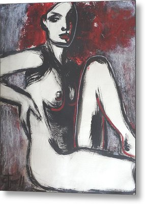 Red Haired Nude Lady 1 Metal Print