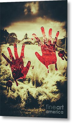 Red Handprints On Glass Of Windows Metal Print by Jorgo Photography - Wall Art Gallery