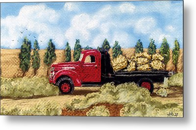 Red Hay Truck Metal Print