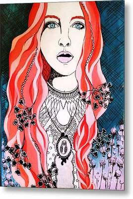 Red Head Metal Print