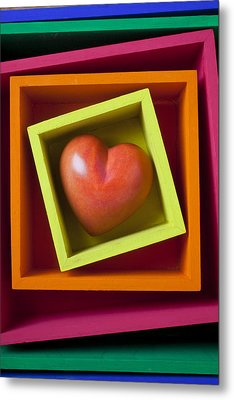 Red Heart In Box Metal Print by Garry Gay