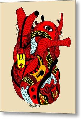 Red Heart Of Light Metal Print