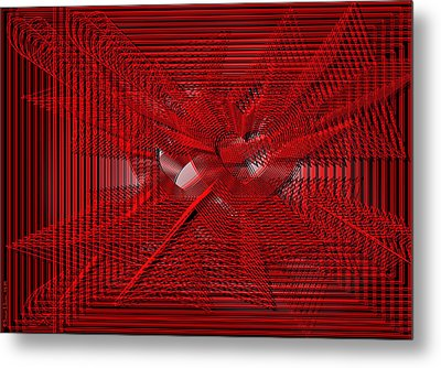 Red Heartwires Metal Print