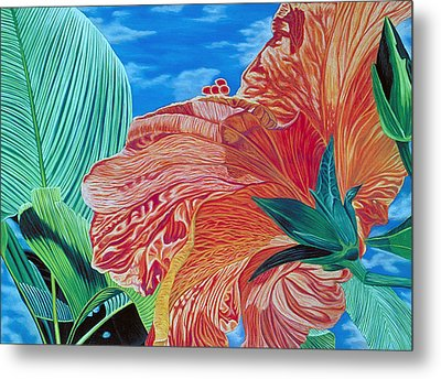 Red Hibiscus And Palms Metal Print