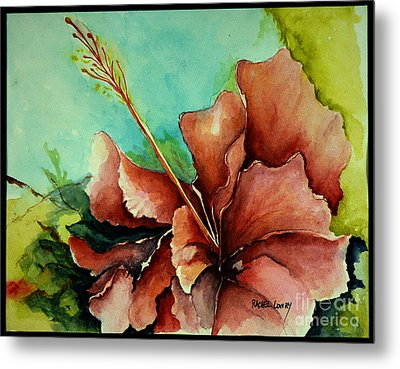 Metal Print featuring the painting Red Hibiscus by Rachel Lowry