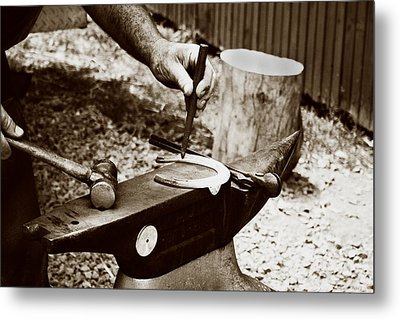 Red Hot Horseshoe On Anvil Metal Print by Angela Rath