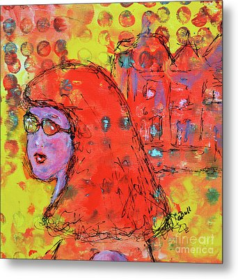 Metal Print featuring the painting Red Hot Summer Girl by Claire Bull