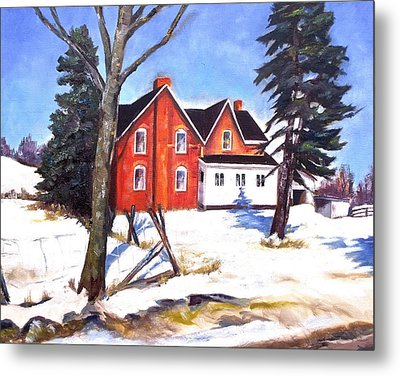 Red House In Rural Ontario Metal Print