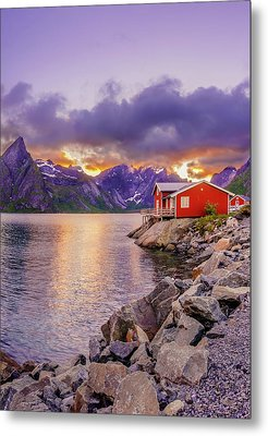Metal Print featuring the photograph Red Hut In A Midnight Sun by Dmytro Korol