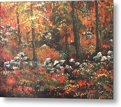 Metal Print featuring the painting Red In The Woods by Dan Whittemore