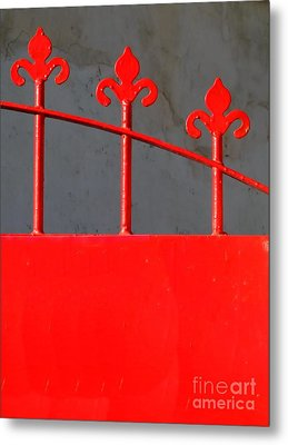 Red Iron Gate Metal Print by Yali Shi