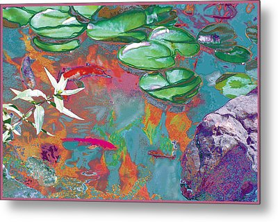Red Koi In Green Disguise Metal Print by Judy Loper