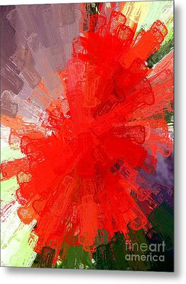 Red Lace Metal Print by Carol Grimes