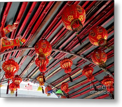 Metal Print featuring the photograph Red Lanterns 1 by Randall Weidner