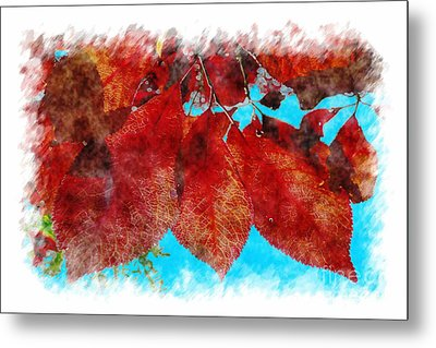 Metal Print featuring the photograph Red Leaves by Jean Bernard Roussilhe