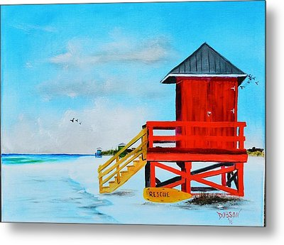 Red Life Guard Shack On The Key Metal Print