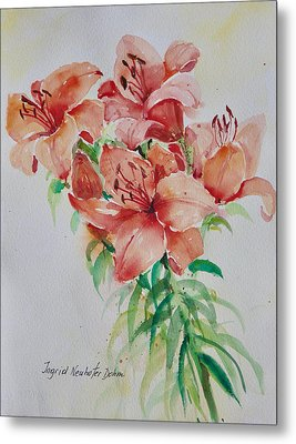 Red Lilies Metal Print by Alexandra Maria Ethlyn Cheshire