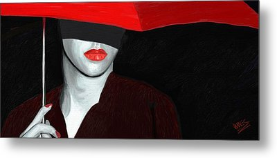 Red Lips And Umbrella Metal Print by James Shepherd