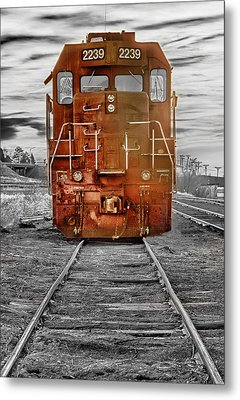 Red Locomotive Metal Print