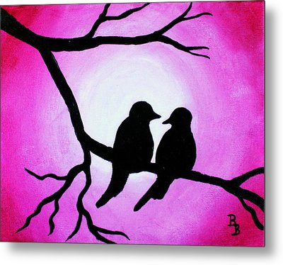 Metal Print featuring the painting Red Love Birds Silhouette by Bob Baker