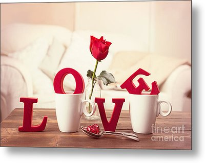 Red Love Letters For Valentines Day Metal Print by Amanda Elwell