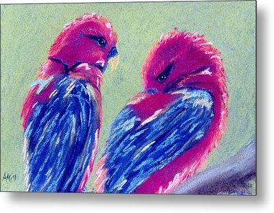 Red Lovebirds Metal Print by Jan Amiss
