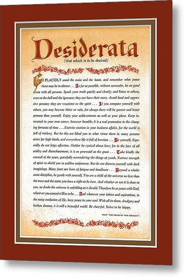 Red Matted Floral Scroll Desiderata Poem Metal Print by Desiderata Gallery