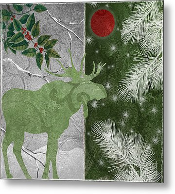 Red Moon Christmas Moose Metal Print by Mindy Sommers