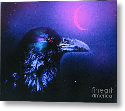 Red Moon Raven Metal Print by Robert Foster