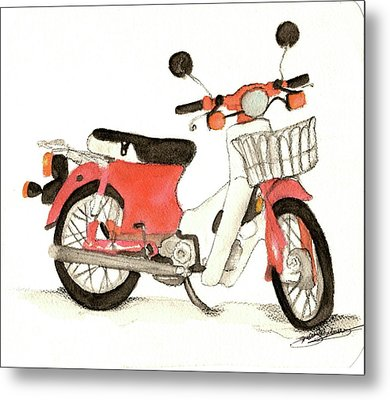 Red Motor Bike Metal Print