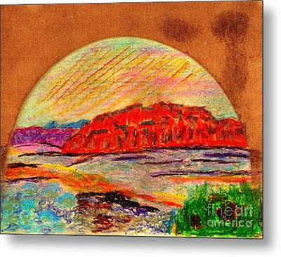 Metal Print featuring the painting Red Mountain Utah by Richard W Linford