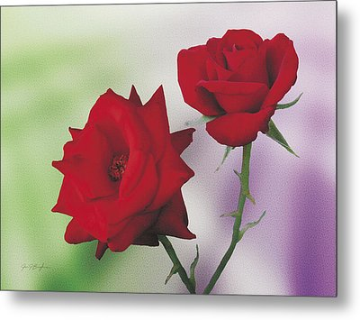 Red Mr. Lincoln Roses Metal Print by Jan Baughman