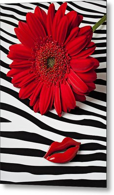 Red Mum And Red Lips Metal Print by Garry Gay