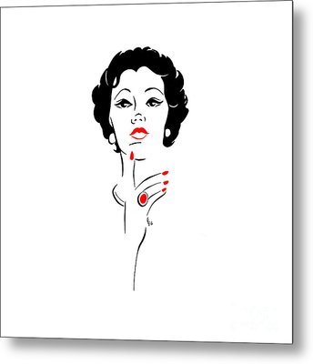 Metal Print featuring the digital art Red Nails Red Lips by Cindy Garber Iverson