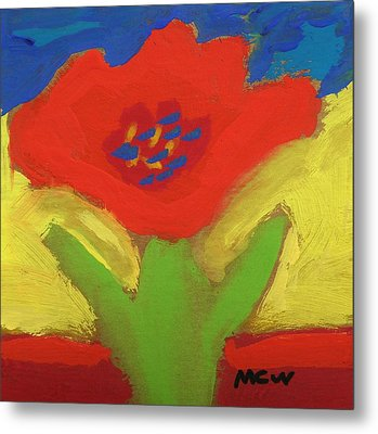 Red Number 1 Metal Print by Mary Carol Williams