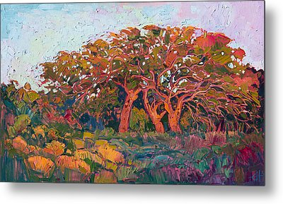 Red Oak Light Metal Print by Erin Hanson