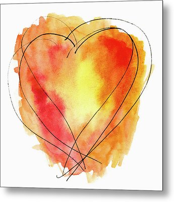 Metal Print featuring the photograph Red Orange Yellow Watercolor And Ink Heart by Carol Leigh