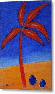 Metal Print featuring the greeting card Red Palm by Karin Eisermann