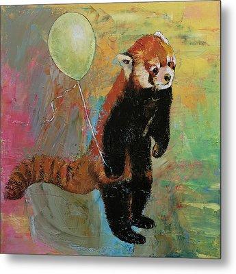 Red Panda Balloon Metal Print by Michael Creese