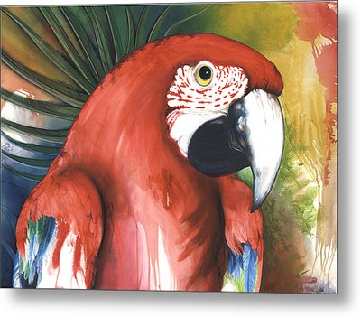 Red Parrot Metal Print by Anthony Burks Sr