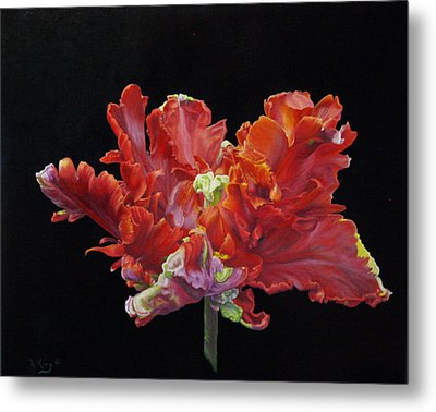 Red Parrot Tulip - Oils Metal Print by Roena King