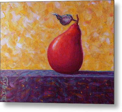Metal Print featuring the painting Red Pear by Dee Davis