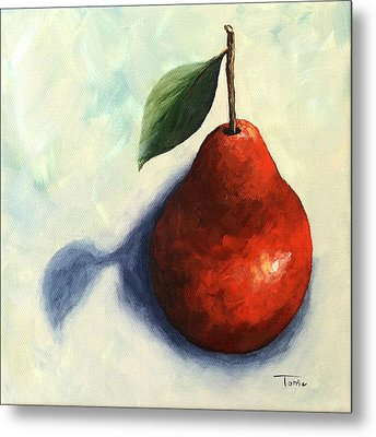 Red Pear In The Spotlight Metal Print
