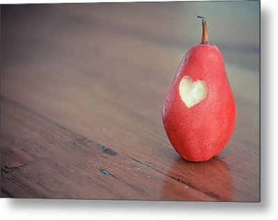 Red Pear With Heart Shape Bit Metal Print by Danielle Donders - Mothership Photography